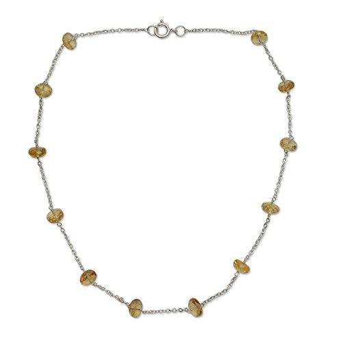(NOVICA Citrine .925 Sterling Silver Necklace, 17.5
