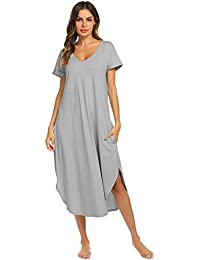 Sleepwear Women s Casual V Neck Nightshirt Short Sleeve Long Nightgown S-XXL 2335be191