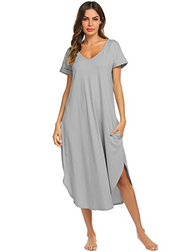 Ekouaer Women's Chemises Short Sleeve Nightwear Long Casual Nightgown Robe (Misty Grey,S) - Long Gown Sleepwear