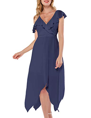 Azalosie Women Wrap Midi Dress Cami Spaghetti Stap Ruffle Short Sleeve Flowy High Low Summer Beach Party Wedding Dress Dusty Blue