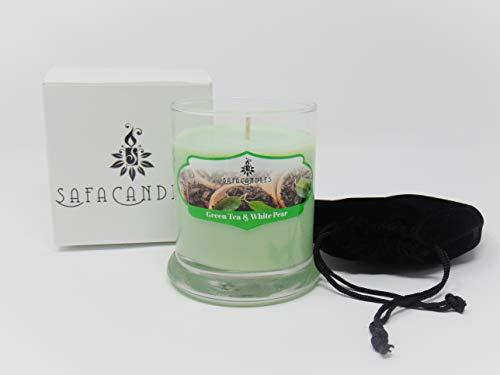 (Safa Candles Green Tea & White Pear Candle - 8.5 Oz. Highly Scented Green Jar Candle (Green Tea & White Pear))