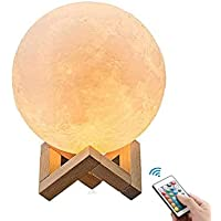 OxyLED Moon Lamp, 16 Colors 7.1 Inch 3D Print LED Moon Light with Stand Remote Touch Tap Control and USB Rechargeable…