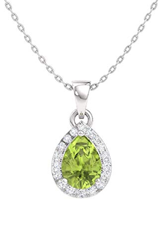 Diamondere Natural and Certified Pear Peridot and Diamond Halo Drop Petite Necklace in 14k White Gold | 0.33 Carat Pendant with Chain (Pear Peridot Drop)