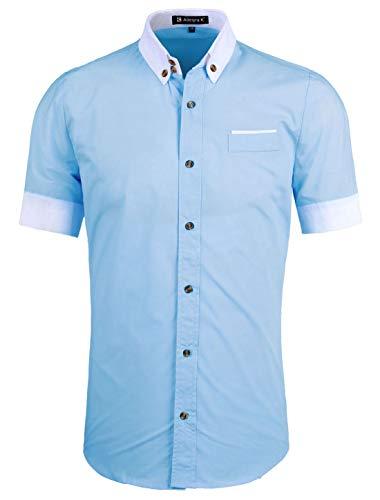 Allegra K Men Short Sleeve Button Down Round Hem Shirts Light Blue S US 36