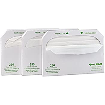 Alpine Industries Flushable Disposable Toilet Seat Covers - 250 Sheets Per Box - 3 Boxes -