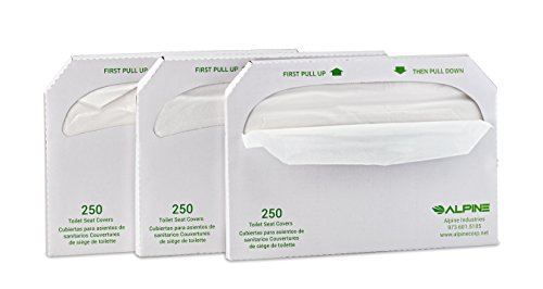 Alpine Industries Flushable Disposable Toilet Seat Covers - 250 Sheets Per Box - 3 Boxes - 750 Sheets Total