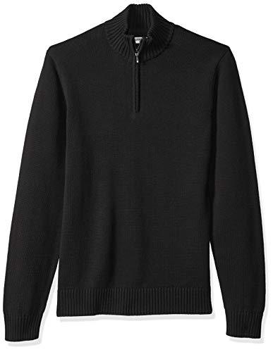 Goodthreads Men's Soft Cotton Quarter Zip Sweater, Solid Black, Large