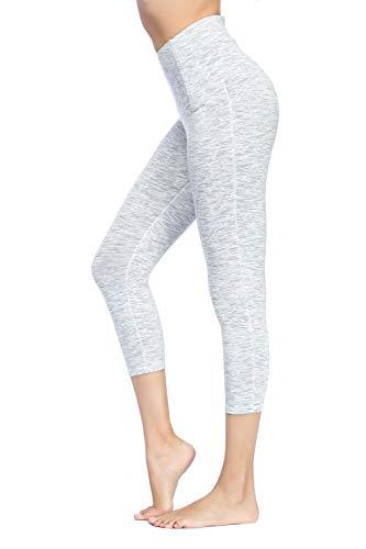 (Dragon Fit Compression Yoga Pants Power Stretch Workout Leggings with High Waist Tummy Control (Large, Capri-Space dye White) )