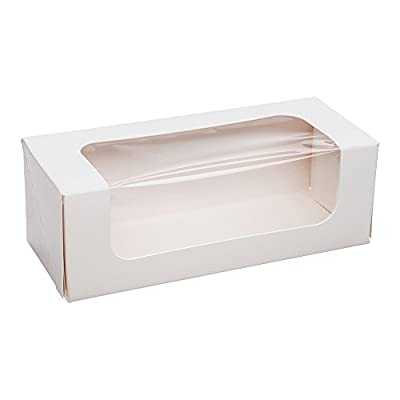 Small Eco Friendly Cafe Vision Rectangle White Take Out Container with Window 200 count box