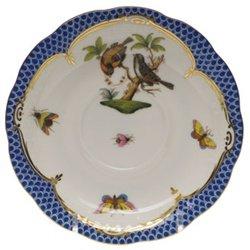 Herend Rothschild Bird Blue Tea Saucer Motif #12