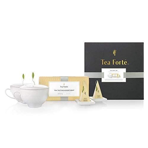 Tea Forte Duet Gift Set with Tea Tasting Petite Presentation Box, Two Cafe Cups with Lids and Two Tea ()