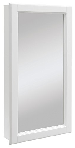 (Design House 545111 Wyndham White Semi-Gloss Medicine Cabinet Mirror with 1-Door and 2-Shelves, 16-Inches Wide by 30-Inches Tall by 4.75-Inches Deep)