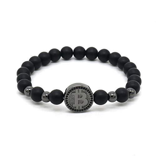 Giwotu Womens Mens Fashion Bitcoin Bracelet for Men Black Matte Stone Beaded Luxury Bracelet Men Pulseira Masculina BT-10 Gun - Guns Bt