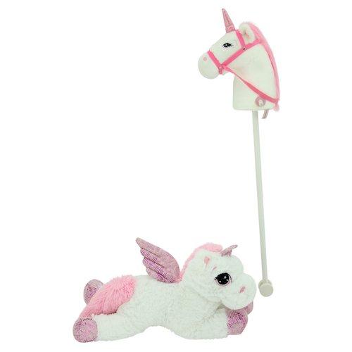 Sweety Toys 11018 Set Steckenpferd Einhorn & Einhorn Plü schtier 65 cm Weiss