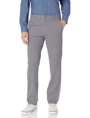 IZOD Men's Performance Stretch Straight Fit Flat Front Chino Pant, Smoked Pearl, 34W x 32L