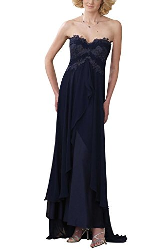 Bandeau lang GEORGE Marineblau Empire BRIDE Abendmode Ballkleid Brautjungfernkleid Chiffon Kristall 5qpt4Sp1