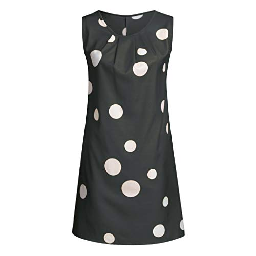 Pengy Women's Dress Casual Boho Print Sleeveless Dress Hem Pleated Dress Cotton and Lien Dress for Lady Black