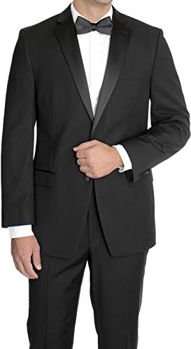 New Mens 5 Piece (5pc) Complete Single Breasted Black Tuxedo Suit, 46L, Black (Mens New Suit 46l)
