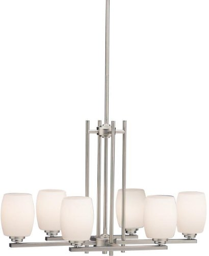 - Kichler 3898NI Linear Chandelier Lighting, Brushed Nickel 6-Light (17