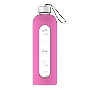 32 Oz Glass Water Bottle Silicone Sleeve Leak Proof Lids Time Markings & Measurements BPA Free For To-Go Travel At Home Reusable Safe For Hot Liquids Tea Coffee Daily Intake Drink (Pink)