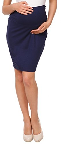 Happy Mama. Womens Maternity Pencil Skirt Overbump Elastic Panel Pregnancy. 066p (Navy, US 12, 2XL) by Happy Mama Boutique