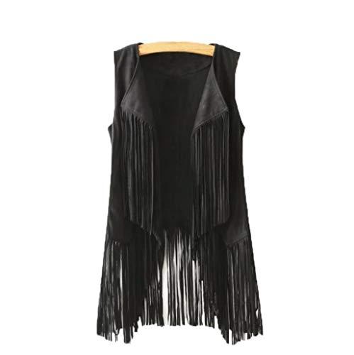OCASHI Cardigans for Women Girl Vest Kimonos Sleeveless Fringe Waterfall Drape Shawl Coat Jacket (XL, Black)