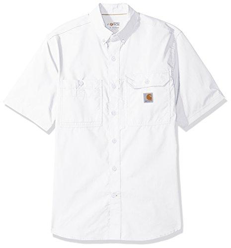Carhartt Men's Force Ridgefield Solid Short Sleeve Shirt, White, Large