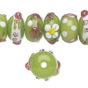 Pink & Green Floral Bumpy 13-14mm Rondelle Coordinated Lampwork Beads 4pc Crafting Key Chain Bracelet Necklace Jewelry Accessories Pendants