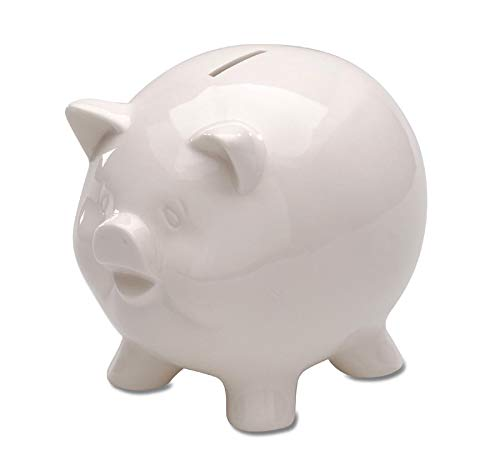 - Darice Piggy Bank - Ceramic - White - 5-3/4 inches High