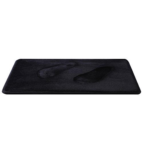 Jonny & Lora Double Layer Memory Foam Bath Mat Non-slip Absorbent And Super Comfort (Black,16 (Black Suede Mat)
