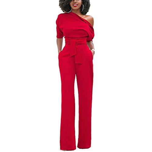 Joseph-Costume-Women-One-Off-Shoulder-Jumpsuit-Solid-Long-Pants-Romper-Clubwear-With-Belt