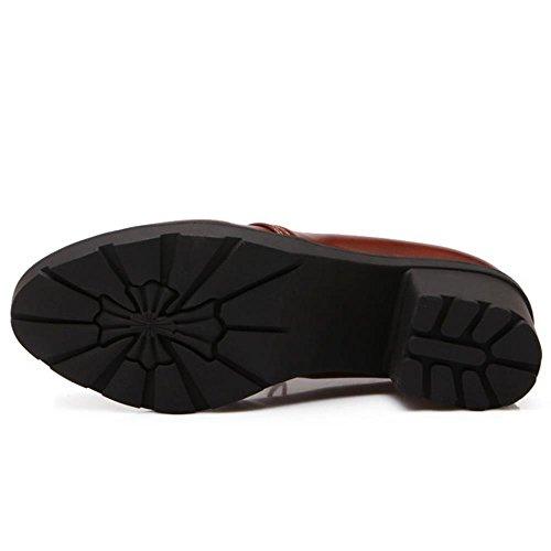 TAOFFEN Marron à Femmes Bloc Escarpins 9 Lacet Chaussures Talon axaqpwrH