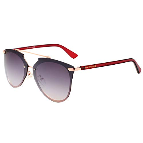 VIVIENFANG Mirrored Rimless Sunglasses Double Bridge Pantos Shape Aviator Shades 87049C Rose Gold