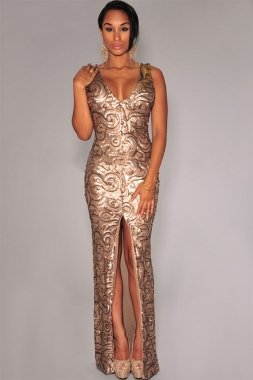 Slit Glitter Gold Padded Front Maxi Long Dress Prom Dress Evening Prom Party Wear Dress Prom