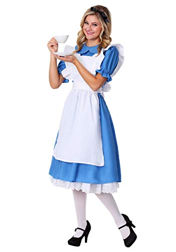Deluxe Women's Alice in Wonderland Costume Alice in Wonderland Dress Medium (8-10) Blue,White ()