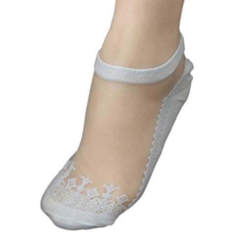 12' Black Dress - Women Girl Fashion Ultrathin Transparent Crystal Lace Elastic Floral Cotton Casual Short Socks (Light blue)