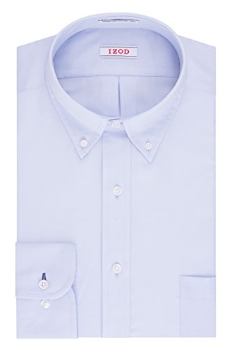 IZOD Men's Twill Regular Fit Solid Button Down Collar Dress Shirt, Water Mill, 17.5