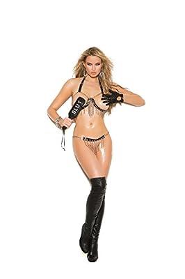 Hot Spot Women's Chain Bra w/Leather Trim & Skirt, Black, One Size