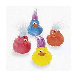 Fun Express Vinyl Crazy Hair Rubber Ducks - 12 Pieces ()