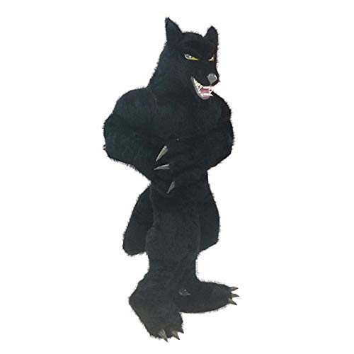 Inflatable Werewolf Horror Demon Costumes Adult Halloween Role Playing Game Pretend Suit Cosplay Clothes (Black)]()