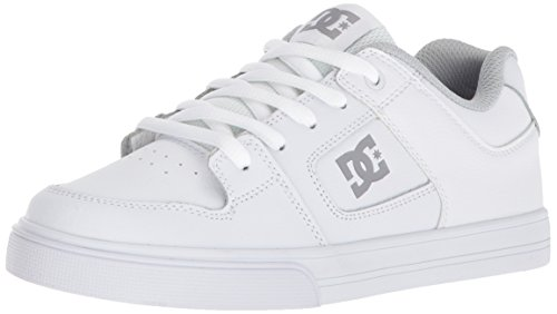 DC Pure Elastic Skate Shoe, White, 1 M US Little Kid ()