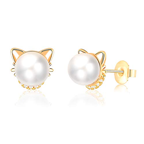 - Kingsin Girl Hypoallergenic Gold Pearl Cat Studs Earrings Cute Hypoallergenic For Women