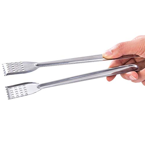 Autumn Water Stainless Steel Bread Clips Cake Tongs BBQ Clamps Hollowed-Out Design Oil Separation Food Dessert Pick Practical Kitchen Tools by Autumn Water