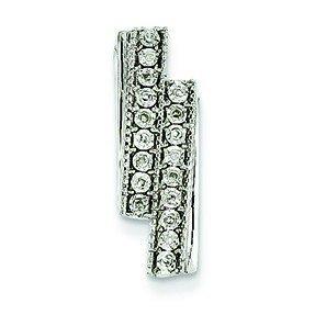 Or blanc 14 carats Diamant brut doublé-JewelryWeb pendentif Slide