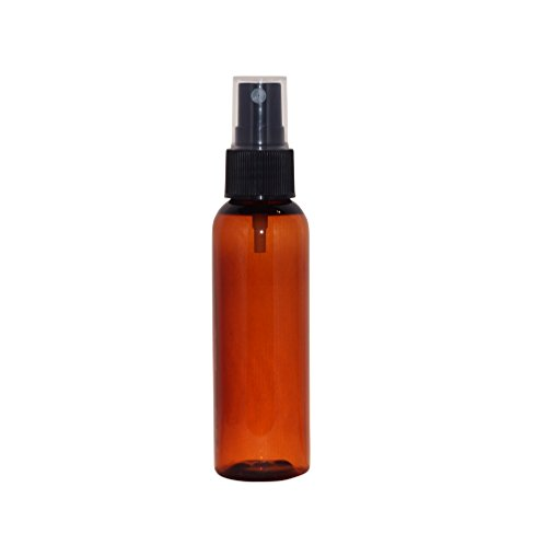 WM (Bulk Pack of 12) 2 oz Travel Refillable, Empty PET Plastic Bottles w/Black Spray Top - DIY travel, hydration, aromatherapy, arts & crafts, and more (Amber)