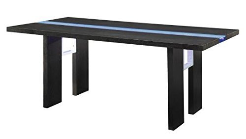 Kenneth Rectangular Dining Table with LED Light Black