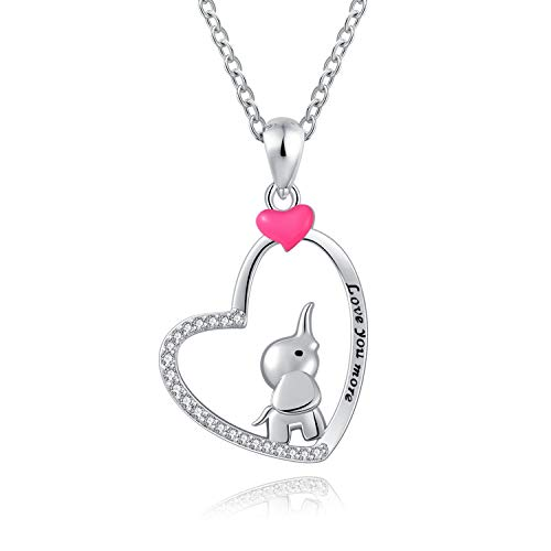 FREECO S925 Sterling Silver Lucky Elephant Necklace - Cute Elephant Necklace Pendant Heart Animal Jewelry for Women Girls Kids (Pink Elephant)]()