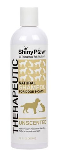 Cat Shampoo 12 Oz Bottle - Shiny Paw® Unscented All-Natural Therapeutic Shampoo for Dogs & Cats - 12 oz
