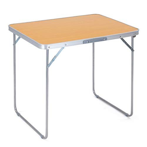 Portable Folding Camping Table, Beech Effect Finish, Sturdy Steel Legs, Aluminium Frame, Carry Handle, Camping, Caravan, Picnic, Barbecue
