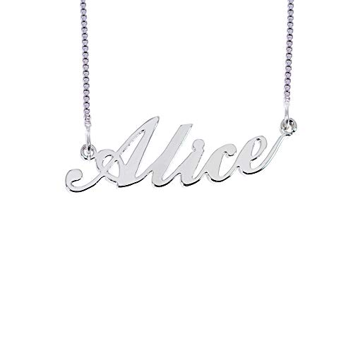 (BINKILA Custom Name Necklace Personalized Pendant Made Initial Birthstone Necklace with Box Chain 18K Gold Gifts for Women (Alice in Silver))